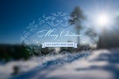 Tarjeta de felicitación de la Feliz Navidad y de la Feliz Año Nuevo Imagen de archivo