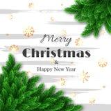 Tarjeta de felicitación de la Feliz Navidad y de la Feliz Año Nuevo Foto de archivo