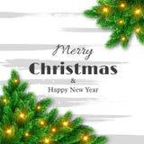 Tarjeta de felicitación de la Feliz Navidad y de la Feliz Año Nuevo Fotos de archivo