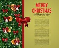Tarjeta de felicitación de la Feliz Navidad y de la Feliz Año Nuevo Fotos de archivo libres de regalías