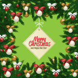 Tarjeta de felicitación de la Feliz Navidad y de la Feliz Año Nuevo Imágenes de archivo libres de regalías