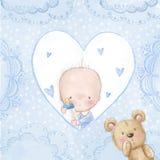 Tarjeta de felicitación de la fiesta de bienvenida al bebé Bebé con el peluche, fondo del amor para los niños Invitación del baut Imagen de archivo