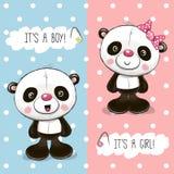 Tarjeta de felicitación de la fiesta de bienvenida al bebé con las pandas ilustración del vector