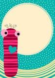 Tarjeta de felicitación de la muñeca del calcetín con la luna Fotografía de archivo libre de regalías