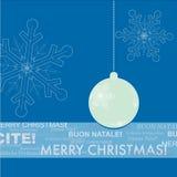 Tarjeta de felicitación de la Navidad azul y blanca Fotografía de archivo