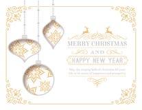 Tarjeta de felicitación de la Navidad blanca del vector Foto de archivo