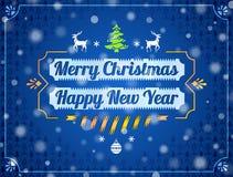 Tarjeta de felicitación de la Navidad con efecto de las nevadas Foto de archivo