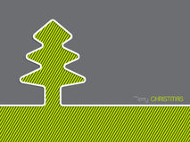 Tarjeta de felicitación de la Navidad con el árbol de navidad rayado Imágenes de archivo libres de regalías