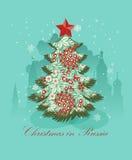 Tarjeta de felicitación de la Navidad con el árbol de navidad ruso Imagen de archivo libre de regalías