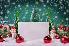 Tarjeta de felicitación de la Navidad con el espacio para el texto Fotografía de archivo