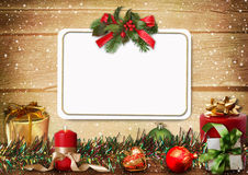 Tarjeta de felicitación de la Navidad con el espacio para la foto o el texto imagen de archivo