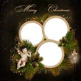 Tarjeta de felicitación de la Navidad con el marco para una familia Imagenes de archivo