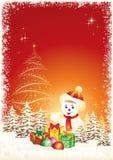 Tarjeta de felicitación de la Navidad con el muñeco de nieve Fotos de archivo