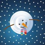 Tarjeta de felicitación de la Navidad con el muñeco de nieve ilustración del vector