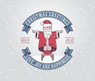 Tarjeta de felicitación de la Navidad con el muchacho de Papá Noel Fotografía de archivo