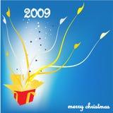 Tarjeta de felicitación de la Navidad con el rectángulo de regalo Imágenes de archivo libres de regalías