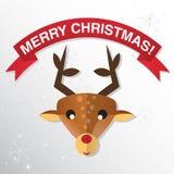 Tarjeta de felicitación de la Navidad con el reno Fotos de archivo