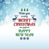 Tarjeta de felicitación de la Navidad con el texto de la tipografía Fotografía de archivo