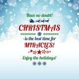 Tarjeta de felicitación de la Navidad con el texto de la tipografía Imagenes de archivo