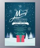 Tarjeta de felicitación de la Navidad con las letras de la Feliz Navidad Foto de archivo