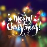 Tarjeta de felicitación de la Navidad con las letras y Fotografía de archivo libre de regalías