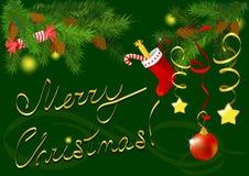 Tarjeta de felicitación de la Navidad con las ramas de un Christm Imagen de archivo