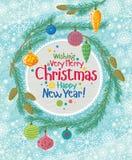 Tarjeta de felicitación de la Navidad con las ramificaciones del abeto ilustración del vector