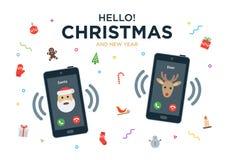 Tarjeta de felicitación de la Navidad con llamada de teléfono de Papá Noel libre illustration