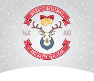 Tarjeta de felicitación de la Navidad con los ciervos Imagen de archivo libre de regalías