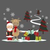 Tarjeta de felicitación de la Navidad con los ciervos y Papá Noel stock de ilustración