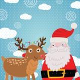 Tarjeta de felicitación de la Navidad con los ciervos y Santa Claus. Fotos de archivo libres de regalías