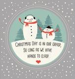 Tarjeta de felicitación de la Navidad con los muñecos de nieve lindos stock de ilustración