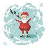 Tarjeta de felicitación de la Navidad con Santa Imagen de archivo