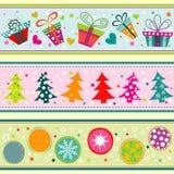 Tarjeta de felicitación de la Navidad de la plantilla, cinta, vector Imágenes de archivo libres de regalías
