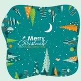 Tarjeta de felicitación de la Navidad de la plantilla con un árbol, vector Fotografía de archivo libre de regalías