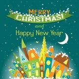 Tarjeta de felicitación de la Navidad de la plantilla con un árbol y una casa, vector Fotos de archivo libres de regalías