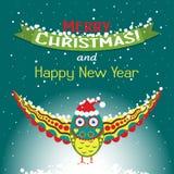 Tarjeta de felicitación de la Navidad de la plantilla con un búho Imágenes de archivo libres de regalías