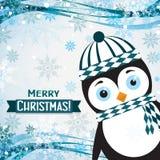 Tarjeta de felicitación de la Navidad de la plantilla con un pingüino, vector Fotografía de archivo libre de regalías