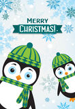 Tarjeta de felicitación de la Navidad de la plantilla con un pingüino, vector Imágenes de archivo libres de regalías