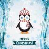 Tarjeta de felicitación de la Navidad de la plantilla con un pingüino, vector Fotos de archivo libres de regalías