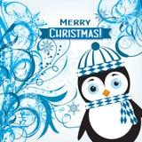 Tarjeta de felicitación de la Navidad de la plantilla con un pingüino, vector Fotos de archivo