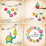 Tarjeta de felicitación de la Navidad de la plantilla, ejemplo del vector Imagenes de archivo