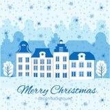 Tarjeta de felicitación de la Navidad, del Año Nuevo con el edificio europeo colorido, copo de nieve, árbol y espacio para su tex ilustración del vector