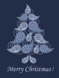 Tarjeta de felicitación de la Navidad del estilo de Paisley ilustración del vector