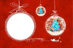 Tarjeta de felicitación de la Navidad del marco de la foto Imagenes de archivo