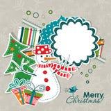 Tarjeta de felicitación de la Navidad del modelo, vector Fotografía de archivo