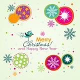 Tarjeta de felicitación de la Navidad del modelo, vector Foto de archivo libre de regalías
