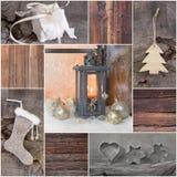 Tarjeta de felicitación de la Navidad del mosaico con la madera, regalo, presente, árbol foto de archivo