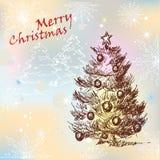 Tarjeta de felicitación de la Navidad del oro Fotografía de archivo
