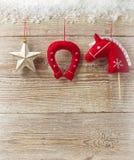 Tarjeta de felicitación de la Navidad del vaquero para el texto con la decoración occidental Foto de archivo libre de regalías
